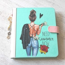 Agenda A5 cuir turquoise girly